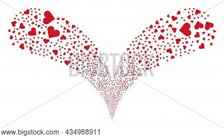 Playing Card Heart Suit Twice Fireworks Fountain. Playing Card Heart Suit Festive Double Fountain. O