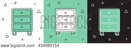 Set Archive Papers Drawer Icon Isolated On White And Green, Black Background. Drawer With Documents.