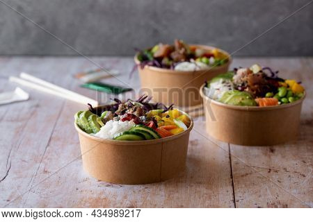 Takeaway ahi tuna poke bowls photography