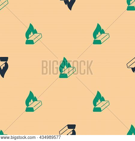 Green And Black Molten Gold Being Poured Icon Isolated Seamless Pattern On Beige Background. Molten