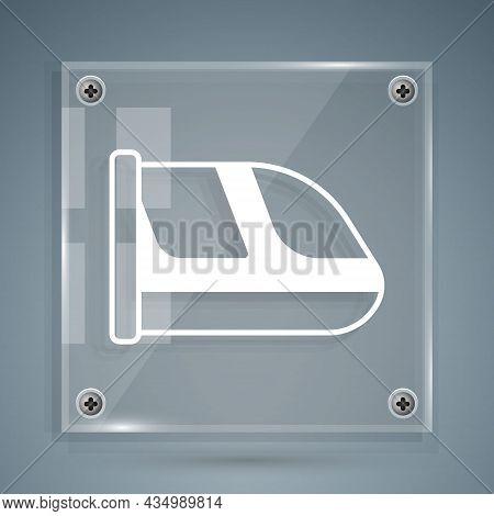 White Train And Railway Icon Isolated On Grey Background. Public Transportation Symbol. Subway Train