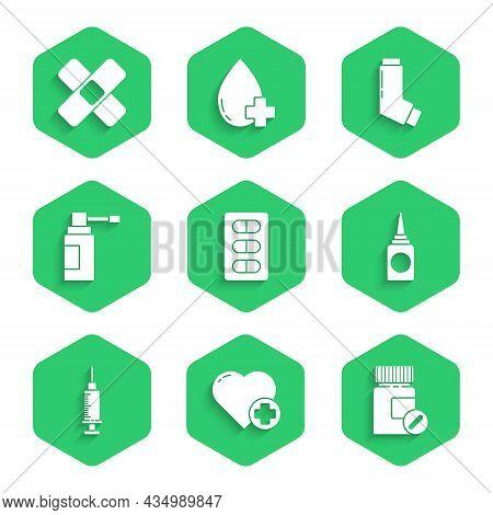 Set Pills In Blister Pack, Heart With Cross, Medicine Bottle And Pills, Bottle Nasal Spray, Syringe,