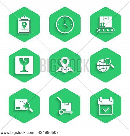 Set Placeholder On Map Paper, Calendar With Check Mark, Magnifying Glass Globe, Search Package, Frag