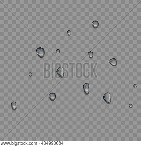 Water Drops On Car Windscreen After Rain Vector. Water Drops On Transparent Vehicle Glass After Rain