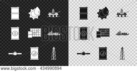Set Barrel Oil, Oil Industrial Factory Building, Platform The Sea, Industry Pipes And Valve, Bio Fue