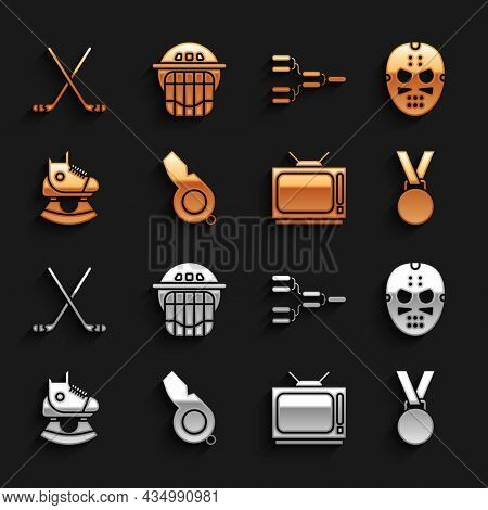 Set Whistle, Hockey Mask, Medal, Retro Tv, Skates, Championship Tournament Bracket, Ice Hockey Stick