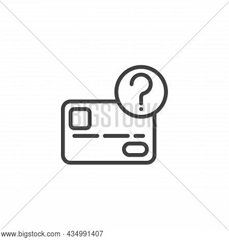 Credit Card Unknown Transaction Line Icon. Linear Style Sign For Mobile Concept And Web Design. Plas