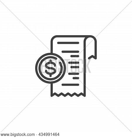 Payment Check Line Icon. Linear Style Sign For Mobile Concept And Web Design. Receipt, Bill Check Ou
