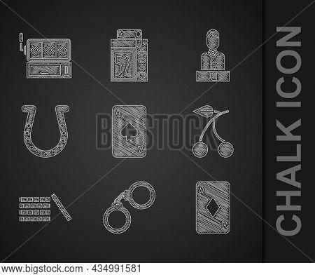 Set Playing Card With Spades, Handcuffs, Diamonds, Casino Slot Machine Cherry, Chips, Horseshoe, Dea