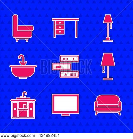 Set Shelf With Books, Picture Frame On Table, Sofa, Table Lamp, Washbasin Cabinet Tap, Water, Floor