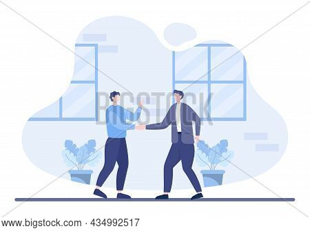 Two Businessmen Reach A Deal Or Agreement Shaking Hands On Cooperation Contract As Successful Partne