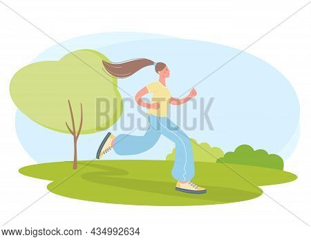 Young Woman Is Engaged In Sports. Illustration Of Girl Jogging In The Park. Concept Of A Healthy Lif