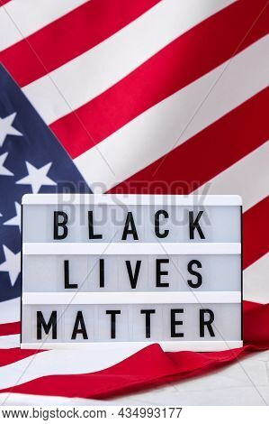 American Flag. Lightbox With Text Black Lives Matter Flag Of The United States Of America. July 4th