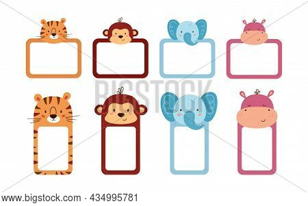 Set Of Cute Photo Frames And Note Paper Decorated Animal Heads. Cute Animals Sheet Templates For Dia