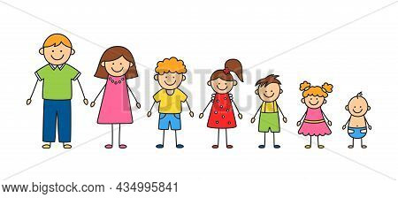 Happy Doodle Stick Mans Family. Set Of Hand Drawn Figure Of Family. Mother, Father And Kids. Vector