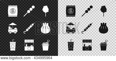 Set Hard Bread Chucks Crackers, Cotton Candy, Paper Glass With Straw, Street Stall Awning, Asian Noo