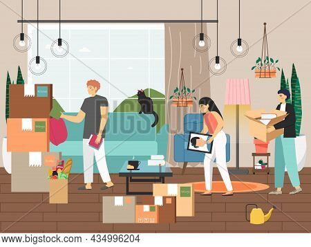 Family Moving To New House, Vector Illustration. People Pack Things, Belongings In Cardboard Boxes.