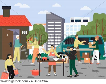 Volunteers Providing Clothes, Food For Homeless, Old, Poor, Needy People, Vector Illustration. Volun