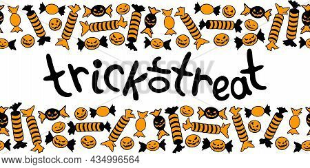 Trick Or Treat -lettering In Frame Of Candy In Different Wrappers In Halloween Style . Horizontal To