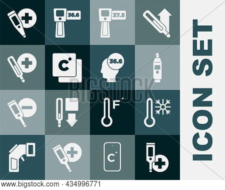 Set Digital Thermometer, Thermometer With Snowflake, Celsius, Medical, And Icon. Vector