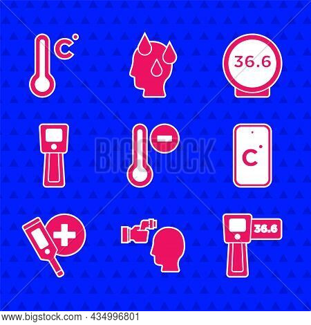 Set Meteorology Thermometer, Checking Body Temperature, Digital, Celsius, Medical And Icon. Vector