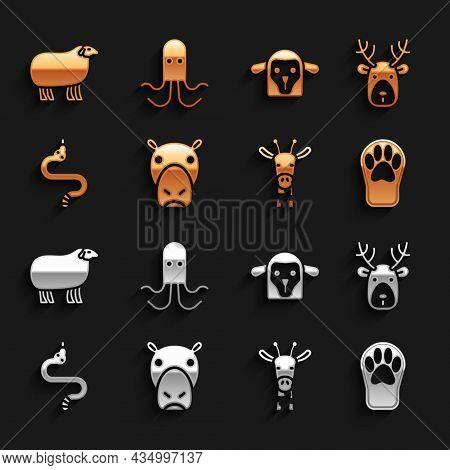 Set Hippo Or Hippopotamus, Deer Head With Antlers, Paw Print, Giraffe, Snake, Sheep, And Octopus Ico