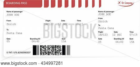 Red Vector Airline Passenger And Baggage Boarding Pass Ticket. Concept Of Travel, Journey Or Busines