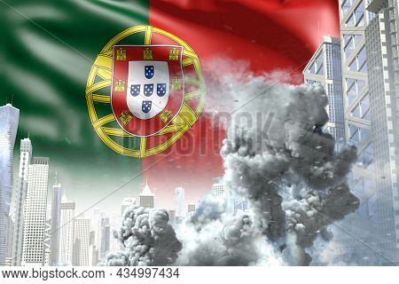 Big Smoke Pillar In Abstract City - Concept Of Industrial Disaster Or Terroristic Act On Portugal Fl