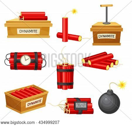 Dynamite Bombs Set. Red Dynamite Sticks, Detonator Box And Bomb With Wick Vector Illustration