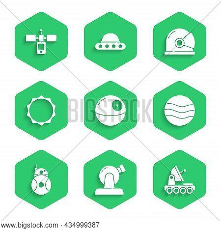 Set Death Star, Astronomical Observatory, Mars Rover, Planet, Robot, Sun, Astronaut Helmet And Satel