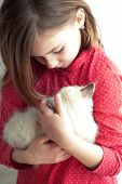 Home portrait of adorable child with small kitten poster