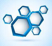 Bright blue background with hexagons and lines poster