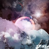 Image of planets in fantastic space against dark background poster