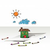 Vector - Child or kids drawing of a house home. Crayons are scattered around the paper. poster