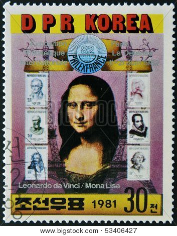 NORTH KOREA - CIRCA 1981: A stamp printed in DPR Korea shows Mona Lisa by Leonardo da Vinci