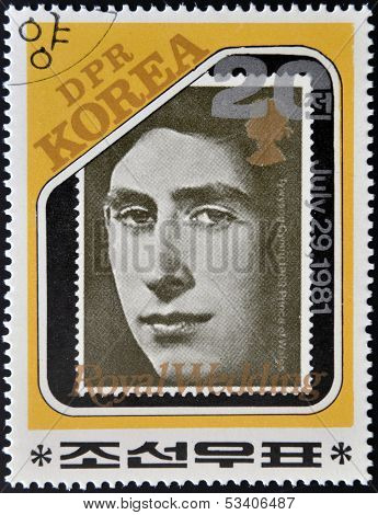 stamp dedicated to royal wedding of the prince of wales to Lady Diana Spencer shows Prince Charles