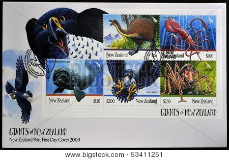 NEW ZEALAND - CIRCA 2009: Stamps printed in New Zealand dedicated to Giants of New Zealand