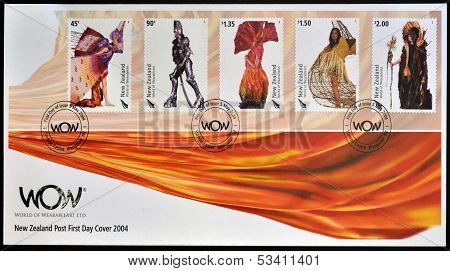 NEW ZEALAND - CIRCA 2004: Stamps printed in New Zealand dedicated to World of WearableArt circa 2004