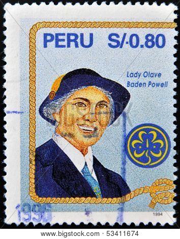 PERU - CIRCA 1994: A stamp printed in Peru shows Lady Olave Baden Powell circa 1994