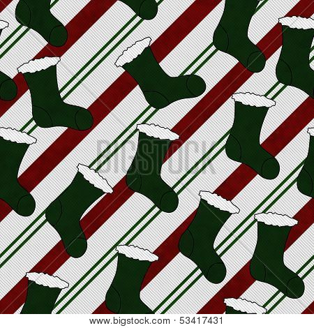 Green Christmas Stocking Textured Fabric Background that is seamless and repeats poster
