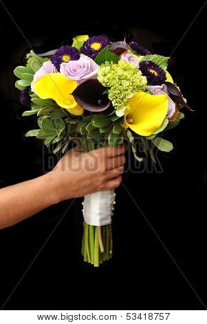 Bridal Bouquet Over Black