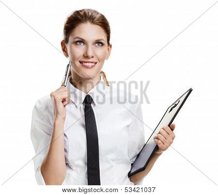 Brunette with folder and pen
