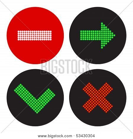 A Set Of Icons In The Style Of A Traffic Light