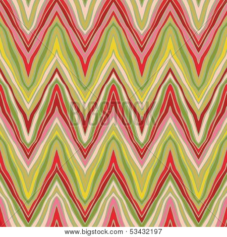 poster of psychedelic linear zigzag seamless pattern in vector. Texture for print, wallpaper, textile, wrapping, website or invitation background