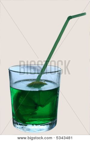 National Bulgarian drink is menta in a glass with a lemon poster