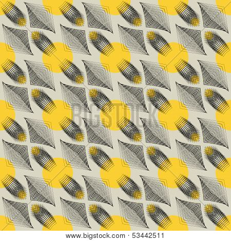 vector seamless background with graphic forms remaining of spaceships or flying geometrical bugs, retro pattern from 1970s or 1980s poster