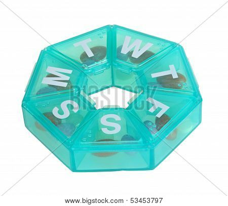 Heptagonal dispenser for a week of pills isolated against a white background poster