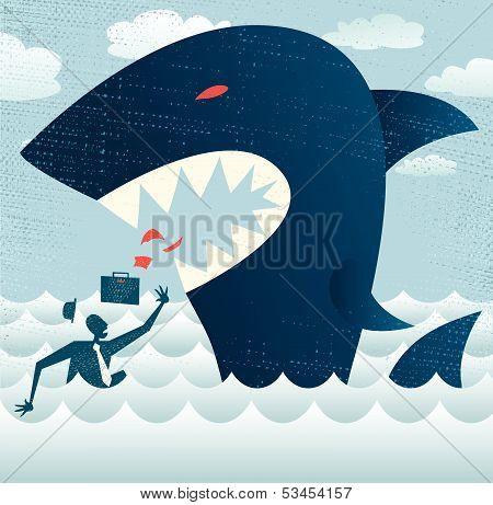 Abstract Businessman falls Prey to a Huge Shark.