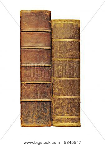 Two Antique Books, Isolated On White