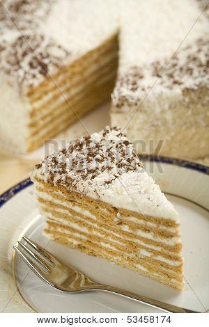 A piece of coconut cake